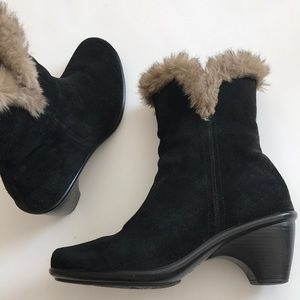 Dansko heeled black suede faux fur trim booties